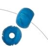 Bone Round Beads 9X10mm Blue Worked On Bone